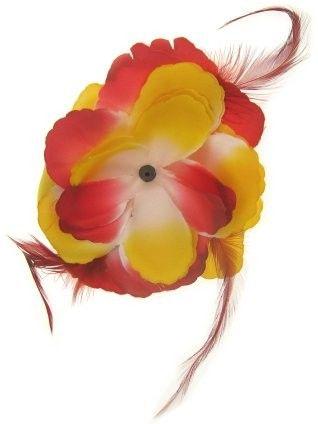 Hawaiiaanse bloemenspeld met veren rood - wit - geel