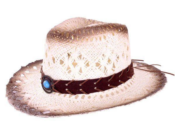 Cowboyhoed met band en steen