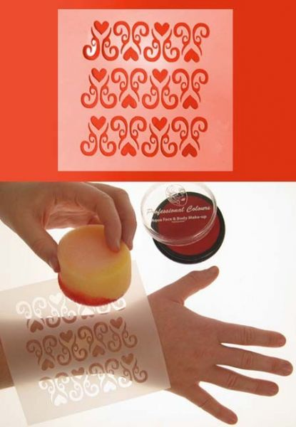 PartyXplosion greasepaint template 12x13cm ornaments with heart