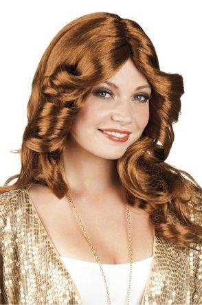 Pruik Disco Doll bruin
