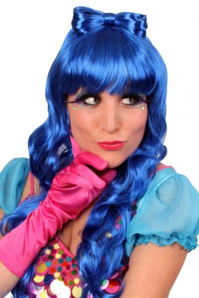 Pruik Lauren lange blauwe haren