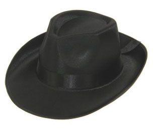 Al Capone hoed satijn zwart