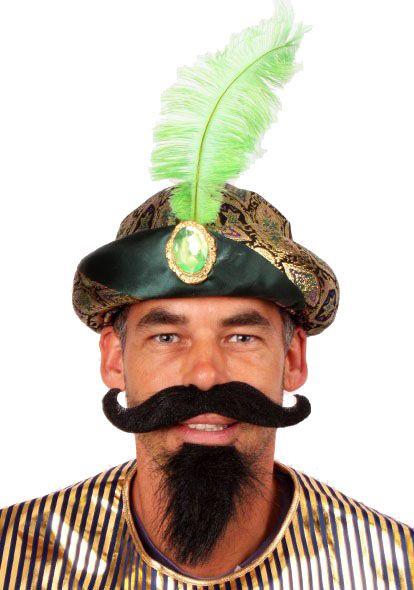 Sultan muts met groene veer