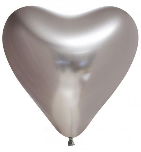 Ballon Hart zilver chrome