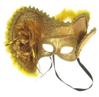 Venetiaanse hoed met oogmasker goud met hoed