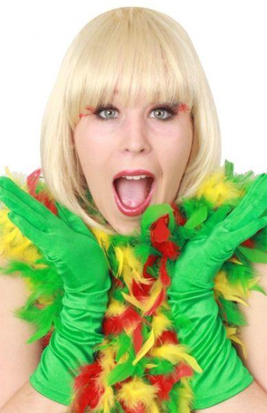 Carnavals Boa dik rood geel groen brandveilig