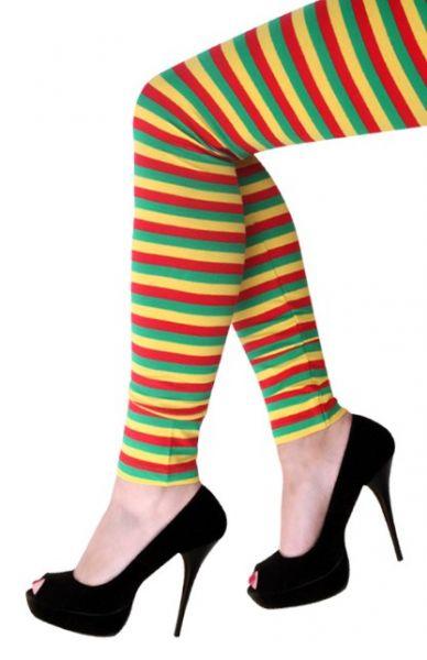 Legging rood geel groen gestreept Carnaval 2021