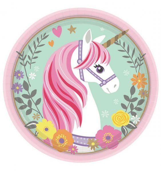 48 Unicorn Eenhoorn-papieren bordjes