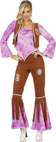 Hippy Flower Power Dame Paars