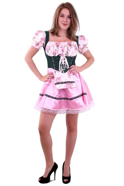 Oktoberfest Dirndl jurkje groen roze met bloemen
