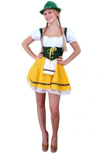 Oktoberfest Tiroler kort Dirndl jurkje geel groen