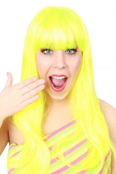 Damespruik trendy lang fluorgeel haar
