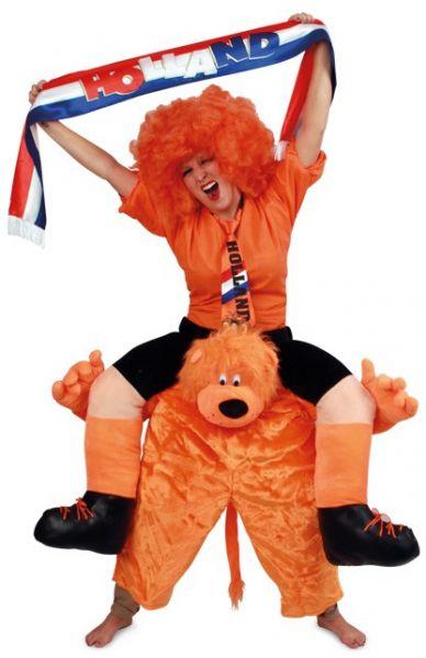 Grappig Piggyback kostuum gedragen door Oranjeleeuw