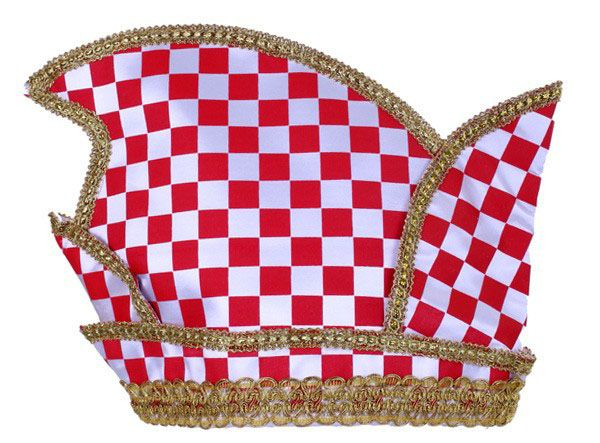 Prinsenmuts Brabant rood wit geblokt