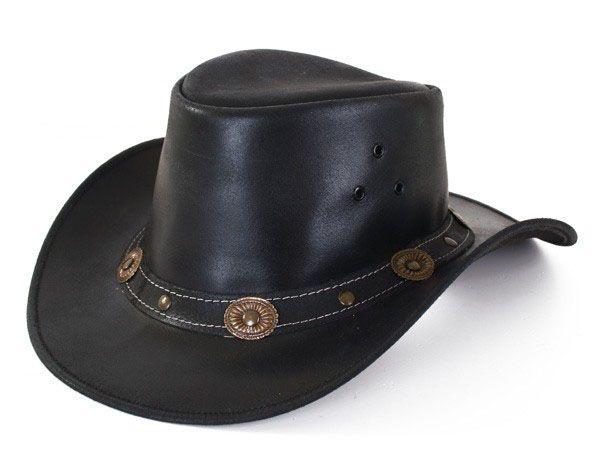 Leren zwarte Cowboyhoed