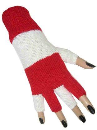 Vingerloze handschoenen rood wit gestreept