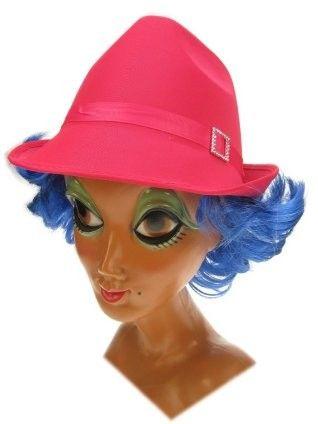 Deukhoedje pink met blauw haarrandje