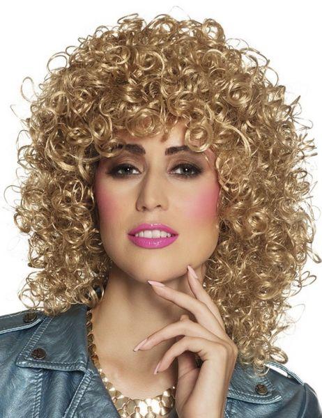 Pruik met krullen Club blond