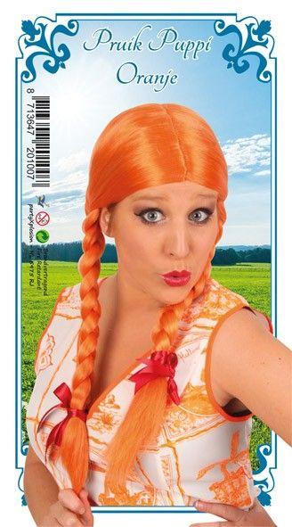 Oktoberfest Dirndl pruik oranje