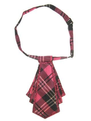 Toppers Mini stropdas pink geruit met steentjes