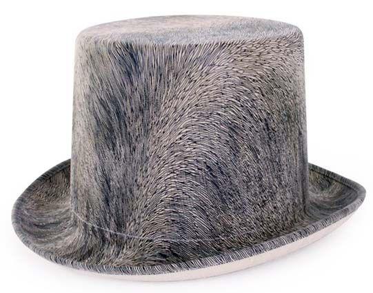Steampunk hoed harig grijs met elastieken band