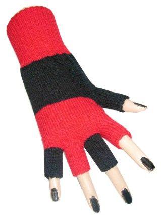 Vingerloze handschoenen rood zwart gestreept