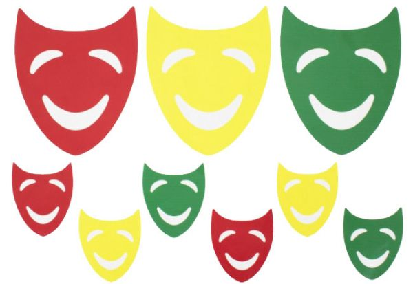 Raamsticker carnavalsmaskers rood geel groen