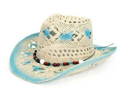 Stetson hoed met decoratie blauw wit