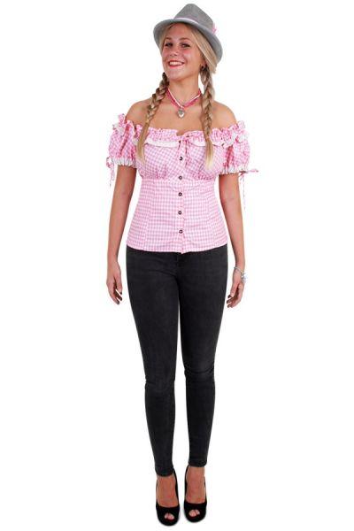Oktoberfest Tiroler blouse roze wit dames