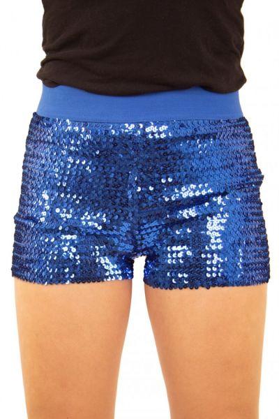 Hotpants met pailletten blauw