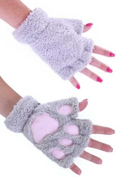 Vingerloze handschoenen pluche grijze berenpootje