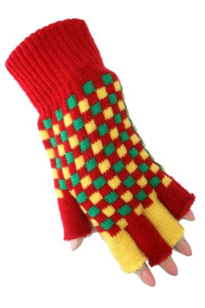 Vingerloze carnavals handschoenen rood geel groen geblokt