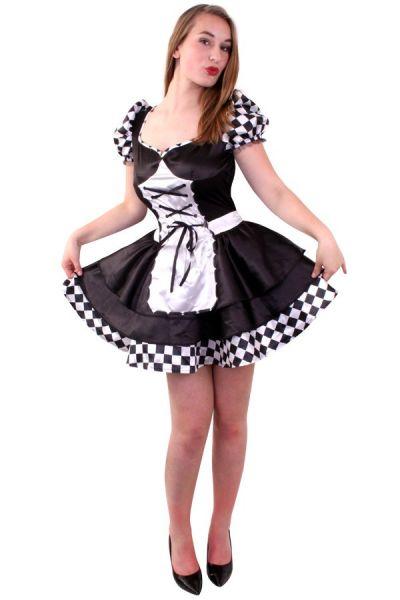 Dark Alice zwart wit geblokt jurkje