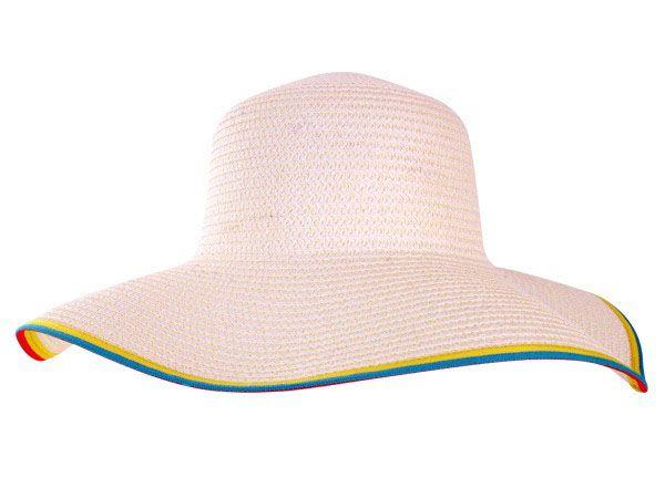 Strandhoed wit met gekleurde rand
