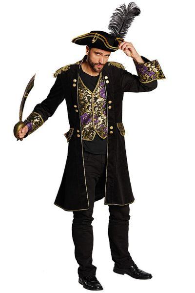 Piraten jas zwart brokaat heren