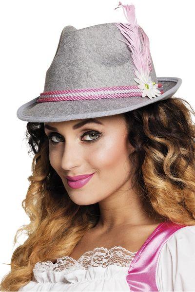 Oktoberfest Dirndl hoed grijs met roze